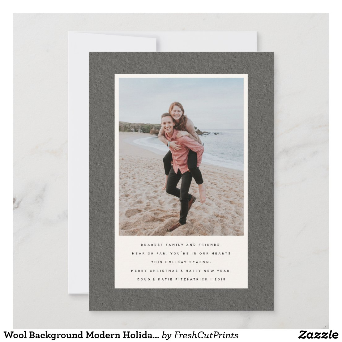 Wool Background Modern Holiday Card with Photo
