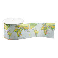 World Map Globe Atlas Countries Satin Ribbon