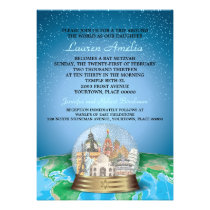 World Travel Bar Bat Mitzvah Snow Globe Invitation