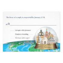 World Travel Bar Bat Mitzvah Snow Globe Reply Invitation