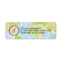 World Travel Compass Bar Bat Mitzvah Return Address Label
