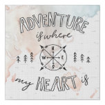 World Traveler | Adventure Is Where My Heart Is Faux Canvas Print