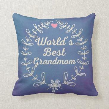 World's Best Grandmom Wreath Throw Pillow Gift