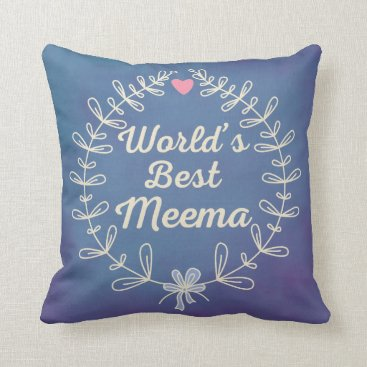 World's Best Meema Wreath Throw Pillow Gift