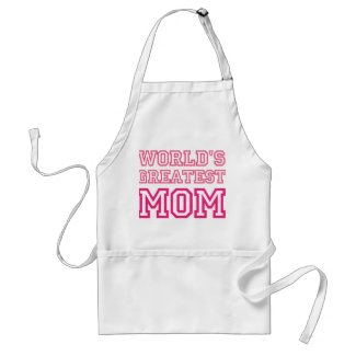 World's Greatest Mom pink and white custom apron