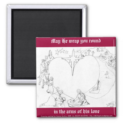 Wrapped in the arms of His Love magnet