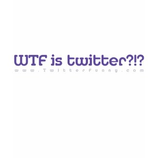 WTF is Twtr?!? Purple on white fitted wmn tee shirt