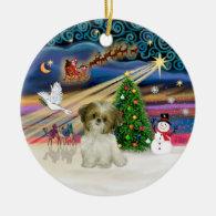 Xmas Magic - Shih Tzu Puppy (brown-white) Christmas Tree Ornaments