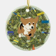 Xmas Wreath Agility Corgi Christmas Ornaments