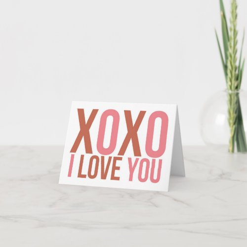 XOXO I LOVE YOU Pink & Red Typographic Valentine Holiday Card