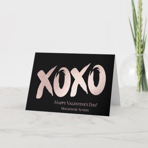 XOXO Pink Black | Modern Hugs Kisses Brushstroke Holiday Card
