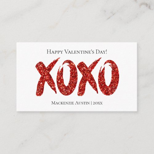 XOXO Red Glitter | Hand Lettered Custom Handout Note Card