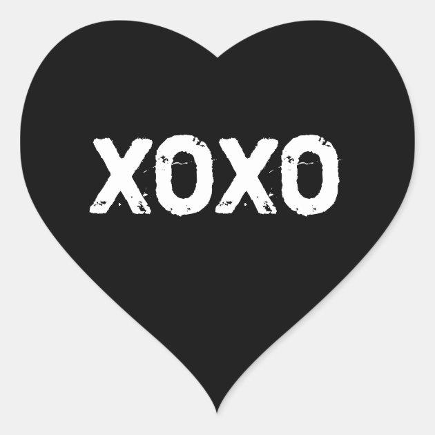 XOXO Valentines Day Black White Hugs Kisses Custom Heart