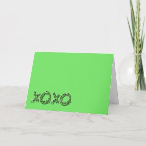 xoxo, Valentine's Day Card Plain green