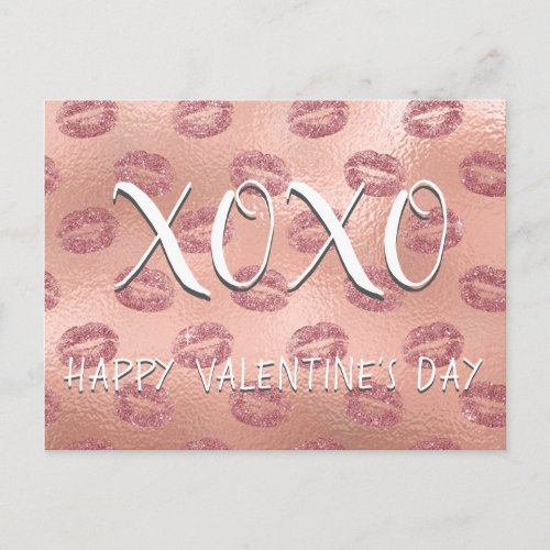 XOXO Valentine's Day Pink Rose Gold Lipstick Holiday Postcard