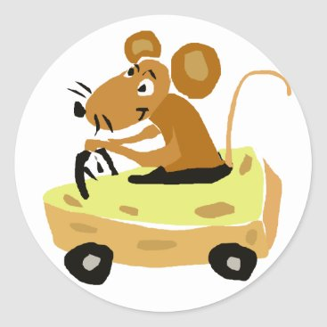 XX- Mouse Driving a Cheese Car Cartoon Classic Round Sticker