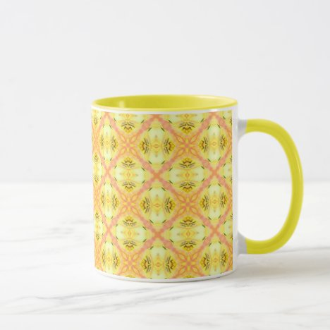 Yellow Abstract Modern Floral Lattice Mug