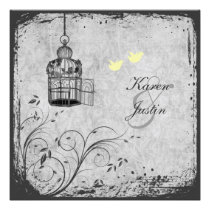 Yellow and Gray Birdcage Lovebirds Wedding Invite