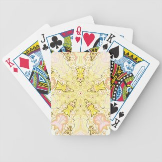 Yellow and Pink Kaleidoscope Angels Bicycle Playing Cards