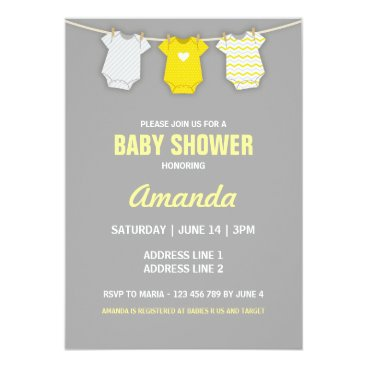 Yellow Baby Shower Invitation, Clothesline Theme Invitation