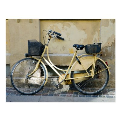 Yellow Bicycle, Copenhagen, Denmark Postcard