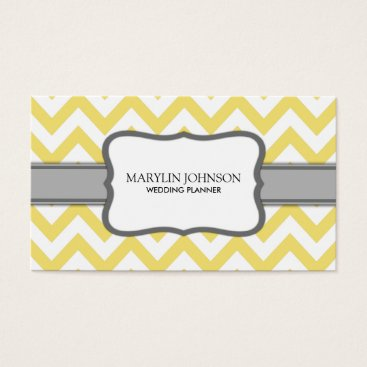 Yellow Chevron Wedding Planner Business Card