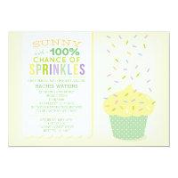 Yellow Cupcake Baby Sprinkle Invitation