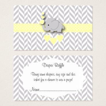Yellow Gray Elephant Baby Shower Diaper Raffle Business Card