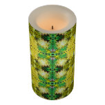 Yellow Green Abstract Design Flameless Candle