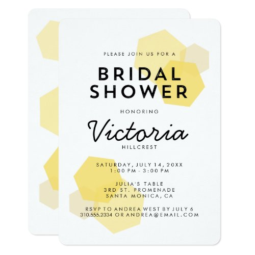 Yellow Honeycomb Bridal Shower Invitation