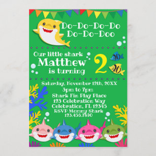 shark birthday invitations zazzle