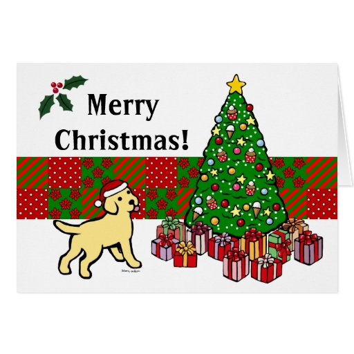 Yellow Lab Puppy And Christmas Tree Card Zazzle