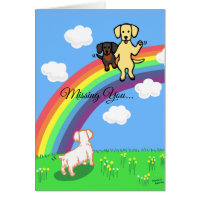Yellow Labrador and Dogs at the Rainbow Bridge Card
