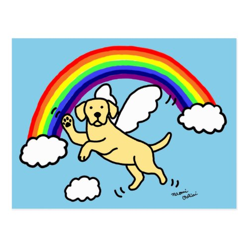 Yellow Labrador Guardian Angel (Rainbow Bridge) Postcard