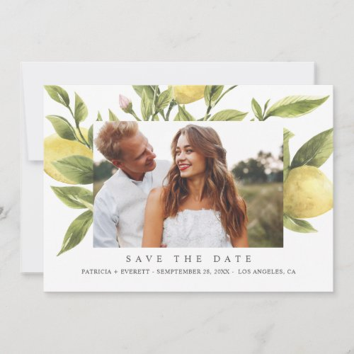 Yellow Lemons Gray Wedding Photo save the date Announcement