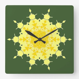 Yellow mandala on green square wall clocks