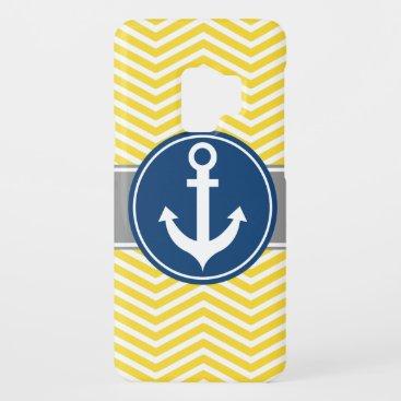 Yellow Nautical Anchor Chevron Case-Mate Samsung Galaxy S9 Case