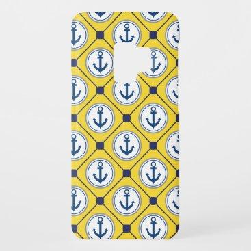 Yellow Nautical Anchor Pattern Case-Mate Samsung Galaxy S9 Case