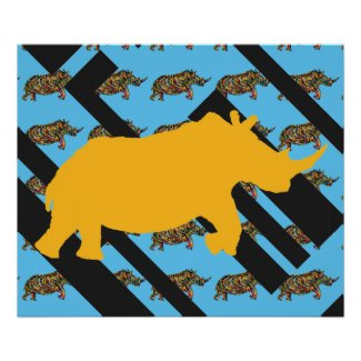 Yellow Rhino Pattern Poster