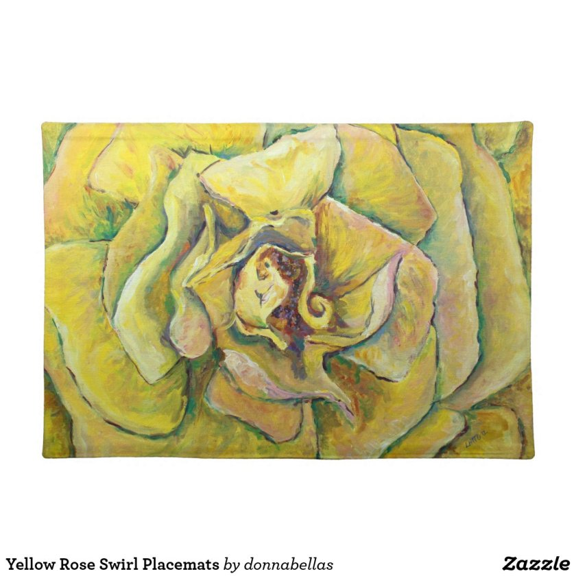 Yellow Rose Swirl Placemats