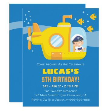 Yellow Submarine Boy Birthday Party Invitations