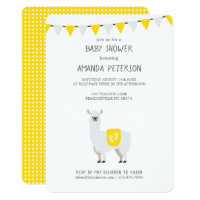 Yellow & White Gender Neutral Llama Baby Shower Card
