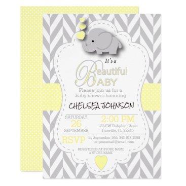 Yellow, White Gray Elephant Baby Shower Card