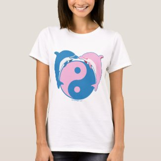 Yin Yang Dolphins Blue/Pink T-Shirt
