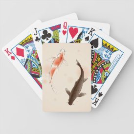 Yin Yang Koi fishes in oriental style painting Bicycle Playing Cards
