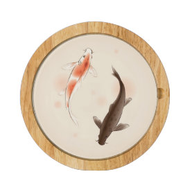 Yin Yang Koi fishes in oriental style painting Cheese Board