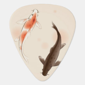 Yin Yang Koi fishes in oriental style painting Guitar Pick