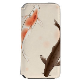 Yin Yang Koi fishes in oriental style painting iPhone 6/6s Wallet Case