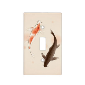 Yin Yang Koi fishes in oriental style painting Light Switch Cover
