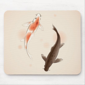 Yin Yang Koi fishes in oriental style painting Mouse Pad